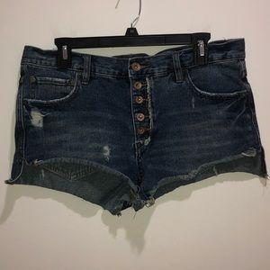 Free People Sz 28 in. Denim Jean Shorts Button Fly